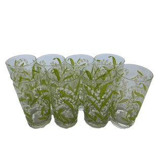 Mid 20th Century Floral Glassware - Set of 8 For Sale