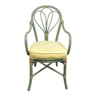 Vintage Mid Century McGuire Green Rattan Desk Chair For Sale
