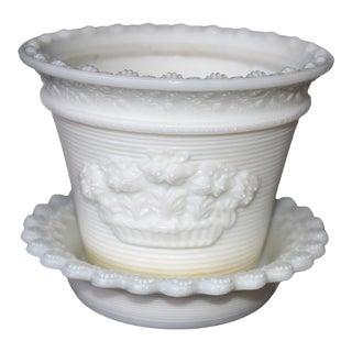 Vintage Milk Glass Flower Pot With Saucer - A Pair