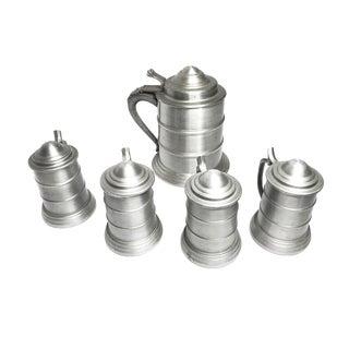1960s Renaissance Aluminum Metal Lidded Beer Tankard Steins - Set of 5