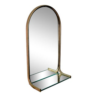 Vintage Industrial Pharmacy Mirror With Shelf For Sale