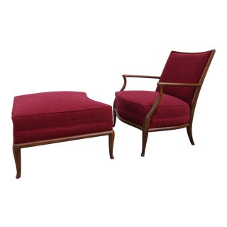 Robsjohn Gibbings for Widdicomb French Style Lounge Chair and Ottoman For Sale