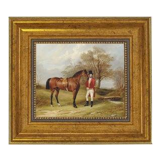 "Gentleman Standing Beside Saddled Hunter Framed Oil Painting Print on Canvas in Antiqued Gold Frame 5 X 6"" Framed to 8-1/2 X 9-1/2"". For Sale"