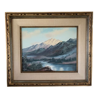 Elizabeth Hubbell California Mountain Lake Oil Painting on Canvas For Sale