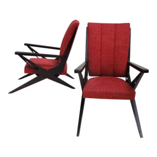 Exceptional Dynamic Sculptural Form Italian Lounge Chairs from the 1950s