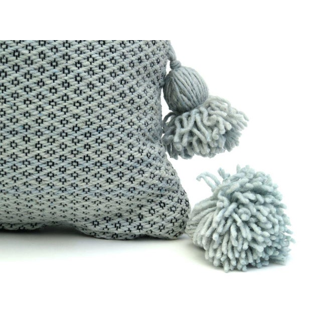Moroccan Wool Pom Pom Pillow For Sale - Image 4 of 9