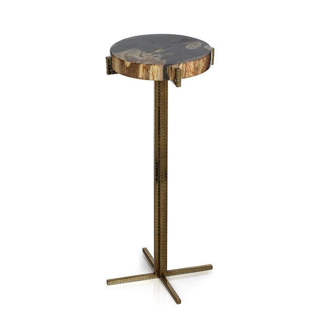 Mid-Century Modern Kenneth Ludwig Petrified Wood Round Martini Table For Sale - Image 3 of 3