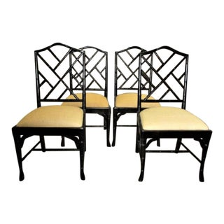 Chinese Chippendale Bamboo Chairs - Set of 4 Chinoiserie For Sale