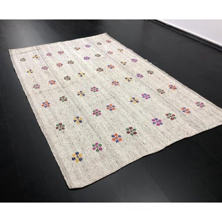 "1960s Vintage Floral Embroidered Traditional Turkish Handmade Aztec Kilim Rug - 6'1"" x 8'10"" Preview"