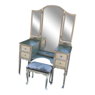 French Style Vanity With Mirror and Upholstered Stool - 2 Pieces For Sale