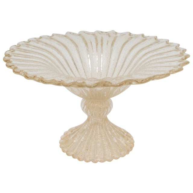 Gold Flecks Murano Glass Footed Compote For Sale - Image 10 of 10