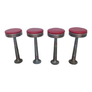 Art Deco Set of Four Round Chrome Metal Bar Stool For Sale