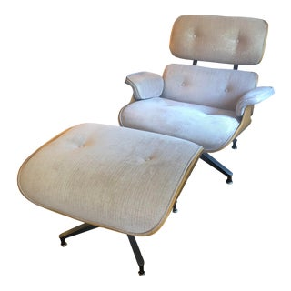Authentic Eames Rose Gold Upholstered Lounge Chair & Ottoman - A Pair For Sale