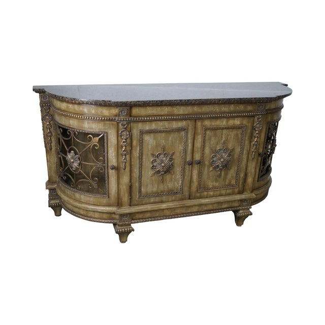 Faux Painted French Style Marble-Top Sideboard with Iron Doors - Image 1 of 10