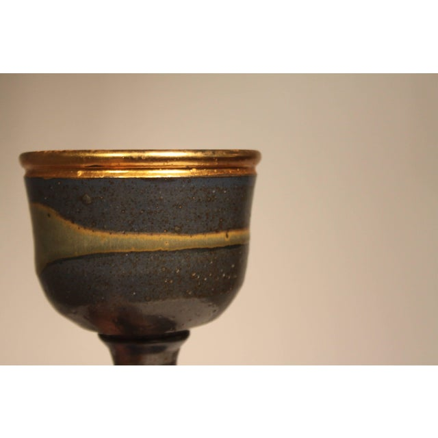 1960s 1960s Mid-Century Modern Master Potter Byron Temple Stoneware Chalice For Sale - Image 5 of 10