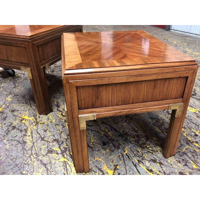 1970s Campaign Thomasville Continuity Collection Side Tables - a Pair For Sale - Image 5 of 12