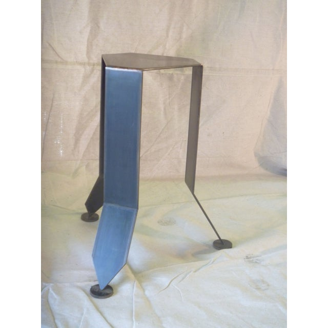 Flower Bronze and Steel Pedestal Stand - Image 3 of 6