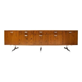 Hans Eichenberger for Stendig Oak Credenza With Stylized Chrome Legs For Sale