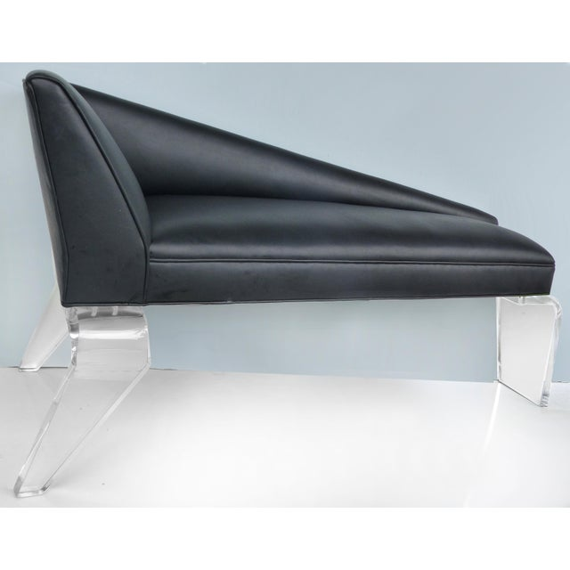 Sculptural Tapered Chaise With Leather Upholstery & Lucite Legs For Sale In Miami - Image 6 of 9