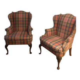 1960s Vintage Upholstered Wing Back Chairs - A Pair For Sale
