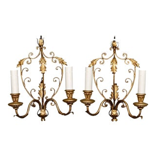 Pair French Delicate Gilt Metal Two Light Sconces For Sale