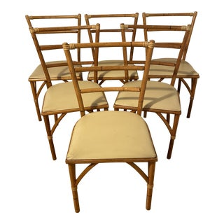 Mid Century Haywood Wakefield Faux Bamboo Rattan Dining Chairs- Set of 6 For Sale