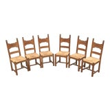 Image of Vintage French Rush Seat Dining Chairs-Set of 6 For Sale