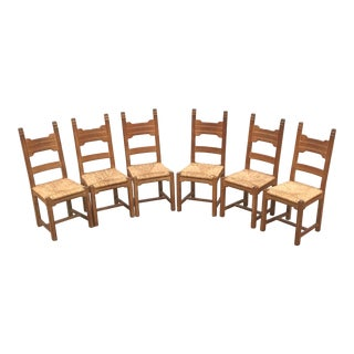 Vintage French Rush Seat Dining Chairs-Set of 6 For Sale