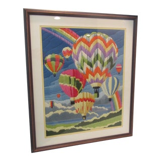 Framed & Matted Mid Century Hot Air Balloons Needlepoint For Sale