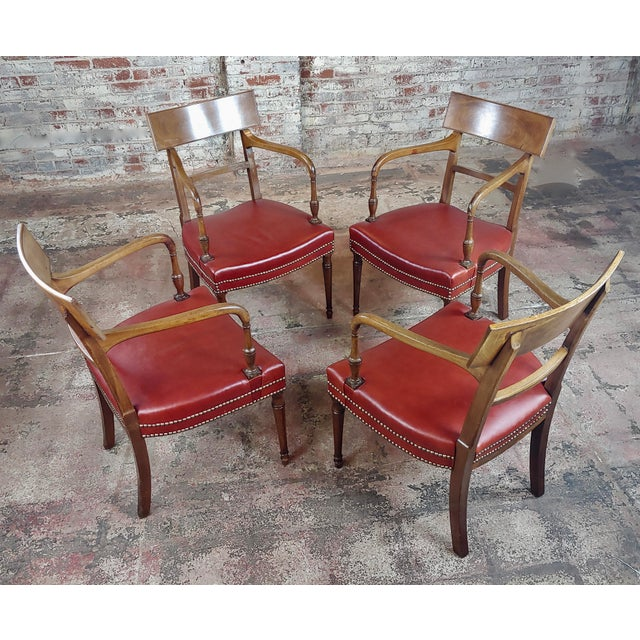 1820s George IV mahogany arm chairs with red leather seats. Set of 4. A beautiful piece that will add to your décor! size...