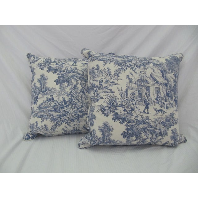 Blue & White Toile De Jouy Pillows - A Pair - Image 8 of 9