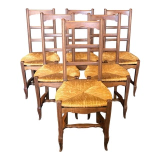 French Provincial Walnut Dining Chairs With Rush Seats -Set of 6 For Sale