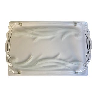 1940s Mid-Century Modern Dorothy Thorpe Original Etched Glass and Lucite Tray For Sale