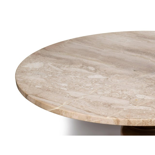 Gueridon Fruitwood Gueridon Dining Table or Center Table With a New Round Limestone To For Sale - Image 4 of 8