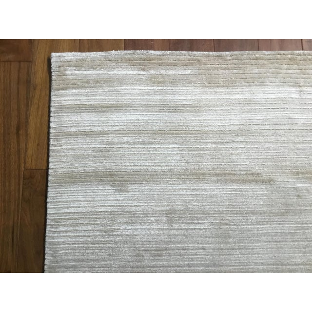 """2010s Contemporary Tone on Tone Striped Rug White (10'x13'6"""") For Sale - Image 5 of 7"""
