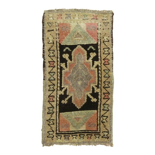 Mini Brown Soft Pink Vintage Turkish Rug For Sale