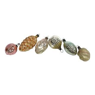 Antique Mercury Glass Ornaments, Set of 6 For Sale
