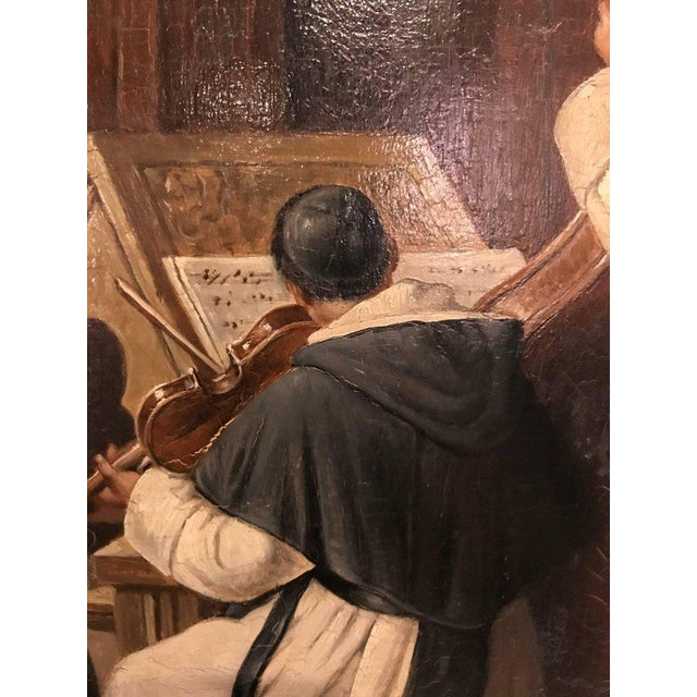 A Late 19th Early 20th Century Oil Painting Of A Group Of Monks On Board For Sale - Image 4 of 12