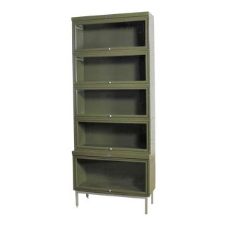 Industrial Army Green Metal Barrister Five Section Stacking Bookcase With Glass Fronts For Sale