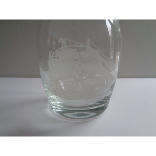 Nautical Vintage Nautical Ship Decanter Carafe & Six Glasses - Set of 7 For Sale - Image 3 of 5