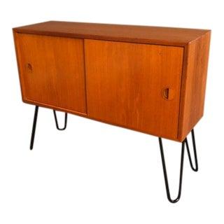 1970s Danish Modern Teak Cabinet With Pin Metal Legs For Sale