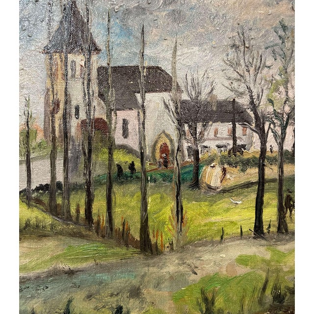Gray Early 20th Century French Oil on Canvas Painting Signed P. Farge For Sale - Image 8 of 13