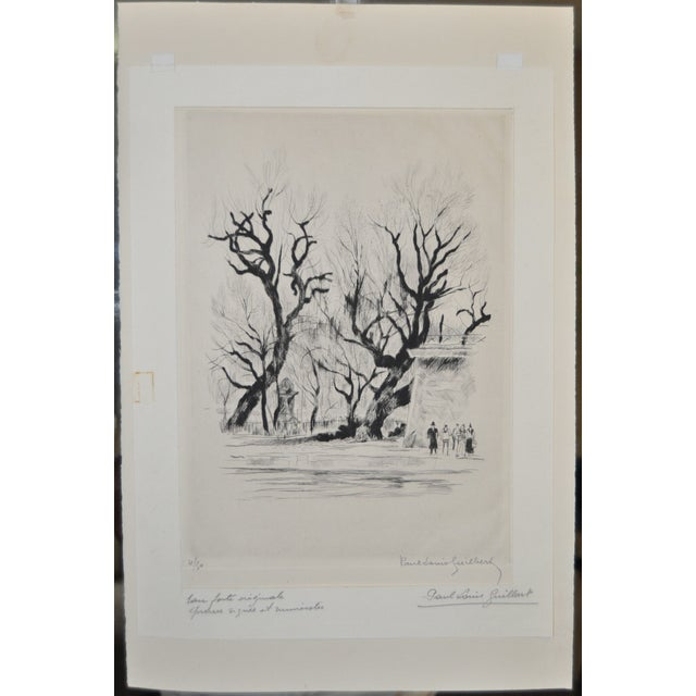 Original 1940's drypoint etching by listed artist Paul-Louis Guilbert. Pencil signed on etching and on paper mat. From a...