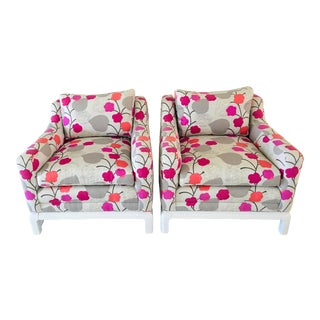 Vintage Floral Upholstered Lounge Chairs - a Pair For Sale