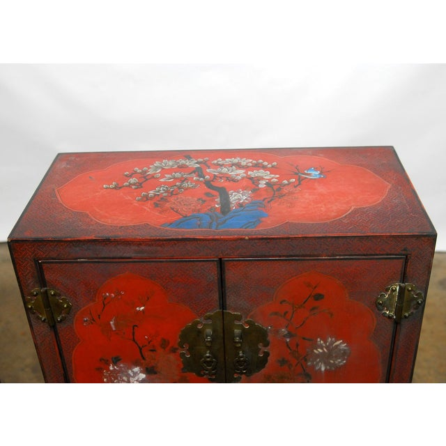Red Chinese Polychrome Cabinets - A Pair - Image 3 of 8
