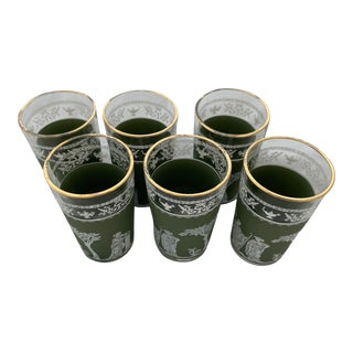 1960s Jeannette Hellenic Green Juice Glasses - Set of 6 For Sale