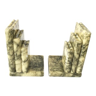 Mid Century Italian Hand Carved Alabaster Books Bookends- A Pair For Sale