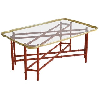 Hollywood Regency Faux Bamboo Tray Top Cocktail Table For Sale