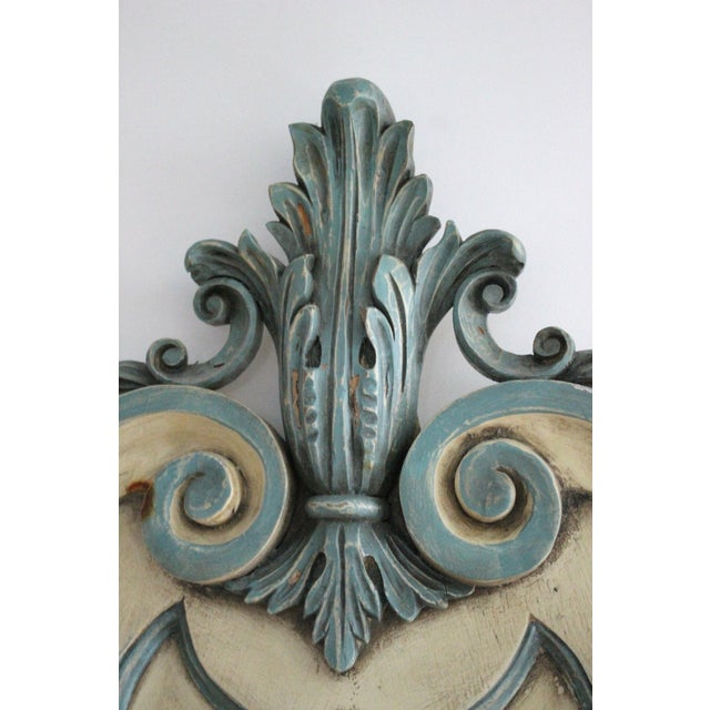 Shabby Chic Cream and Blue King Headboard - Image 5 of 5