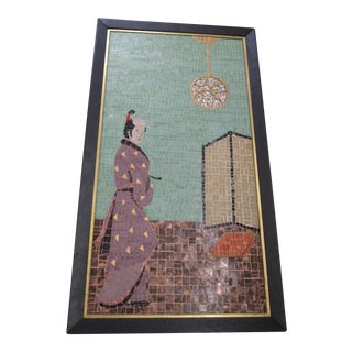 1950s Vintage Mosaic Tile Hand Painted Framed Samurai Painting For Sale